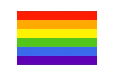 Simple Rainbow flag icon on white background. LGBT flag vector. LGBTQ colors. Vector illustration. Flat style, no effects.