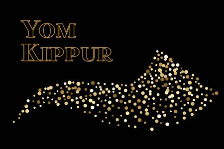 Shofar Yom Kippur greeting card, vector illustration. Golden sparkle confetti on black background. Jewish holiday prayer horn. Random polka dots. Illustration