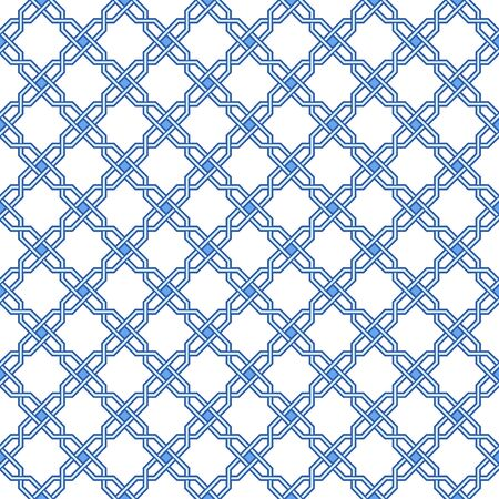 Traditional arabic geometry pattern art. Moroccan seamless vector pattern. Portuguese azulejo floor tiles design. Abstract geometric background in blue and white.