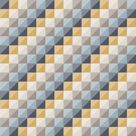 Abstract geometric pattern, diagonal diamond shapes. Geo background wallpaper. Nice retro colors - mustard yellow, turquoise teal, navy blue. Seamless vector pattern.