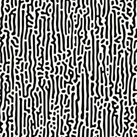 Abstract organic background, natural maze labyrinth, reaction diffusion pattern. Seamless vector pattern. Black and white abstraction. Monochrome background.