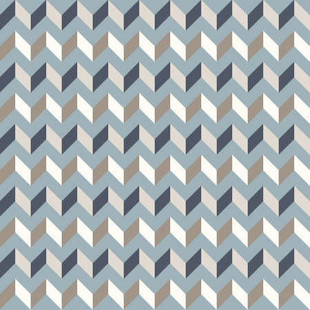 Abstract geometric background in neutral colors. Seamless vector pattern. Brown taupe, navy blue and teal natural colors. Fashion fabric patchwork design. Simple geometry chevron pattern