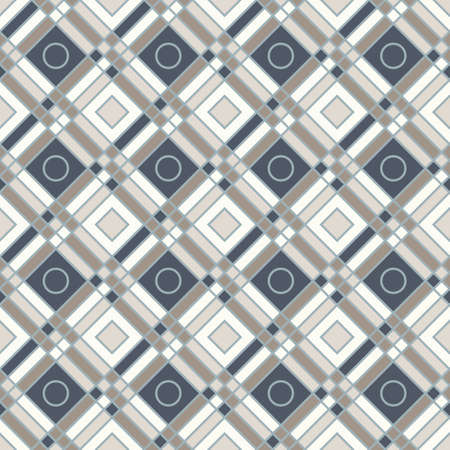 Diamond shapes, crossing lines and cirlces, abstract geometric background. Seamless vector fashion pattern. Perfect for fabric pattern, wallpapers, web backgrounds. 矢量图像