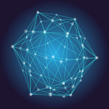 Abstract network concept, vector illustration. Simple linear net with dots on connections. Polygon made with triangles. 3d abstract dark background. 矢量图像