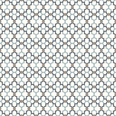 Abstract lattice pattern with dots and quatrefoil shapes in simple neutral colors. Seamless vector pattern. Repeat abstract geometric background.