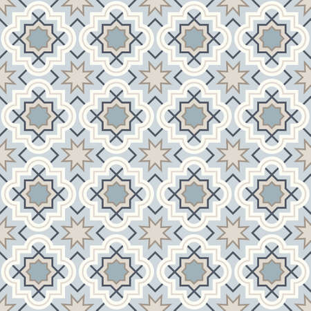 Tangled modern pattern, based on traditional oriental arabic geometric repeat patterns. Seamless vector background. Plain neutral natural colors - easy to recolor.