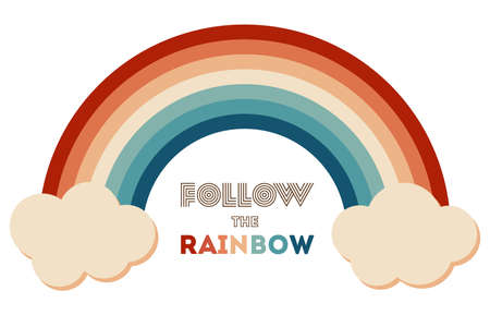 Retrowave 80s art retro rainbow vector illustration with inspirational quote. Quote for rainbows - Follow the rainbow. Abstract rainbow background, turquoise and orange retro colors 1970s. 矢量图像