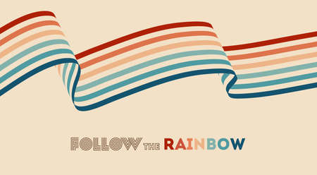 Twisted rainbow flag wave. Retrowave 80s art retro rainbow vector illustration with inspirational quote. Abstract rainbow lgbt flag background, turquoise and orange retro colors 1970s. 矢量图像