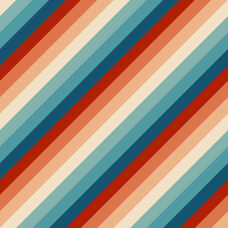 Seamless rainbow stripes pattern. Retrowave 80s art retro rainbow vector illustration. Abstract rainbow background, turquoise and orange retro colors 1970s. 矢量图像