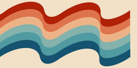Twisted rainbow flag wave. Retrowave 80s art retro rainbow vector illustration. Abstract rainbow lgbt flag background, turquoise and orange retro colors 1970s. 矢量图像