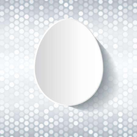 Easter card - white paper cut egg on shiny silver background. Abstract vector illustration. Easter card template - simple white egg on silver grey and white shiny background 矢量图像