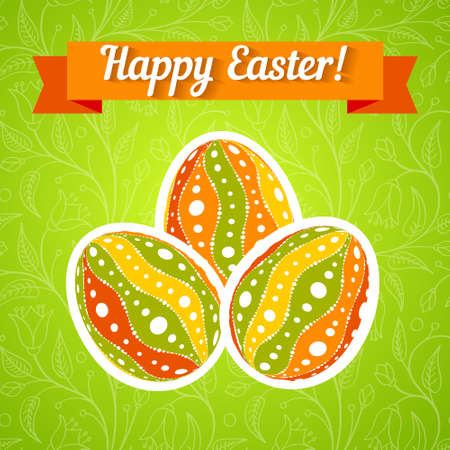 Easter card - patterned egg on bright background. Abstract vector illustration. Easter greeting card template - patterned eggs on green background. Orange ribbon banner
