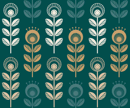 Scandinavian folk style flowers - seamless floral pattern based on traditional folk art ornaments, sweden nordic style. Vector illustration. Simple retro colors 70s 矢量图像