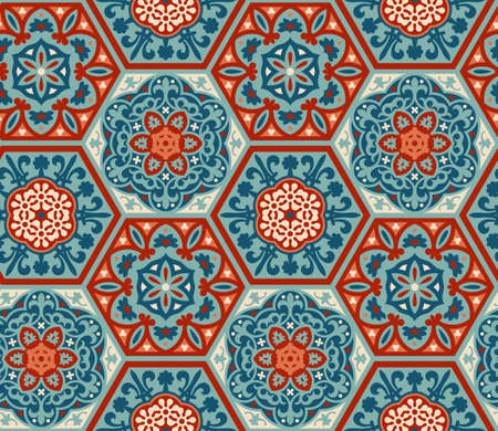 Decorated patterned hexagon cement ceramic tiles, seamless vector pattern, patchwork style. Portuguese azulejo, talavera, moroccan tiles 矢量图像