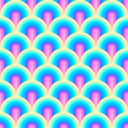 Unicorn rainbow stripes pattern. Neon pastel rainbow illustration. Seamless vector background. Mermaid scales pattern. Abstract geometric wave background. 矢量图像