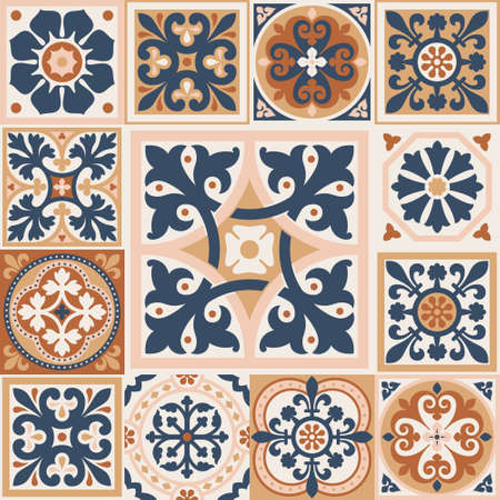 Set of patterned azulejo floor tiles. Abstract geometric background. Vector illustration, seamless mediterranean pattern. Portuguese floor tiles azulejo design. Floor cement talavera tiles collection