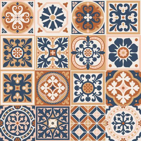 Set of patterned azulejo floor tiles. Abstract geometric background. Vector illustration, seamless mediterranean pattern. Portuguese floor tiles azulejo design. Floor cement talavera tiles collection 矢量图像