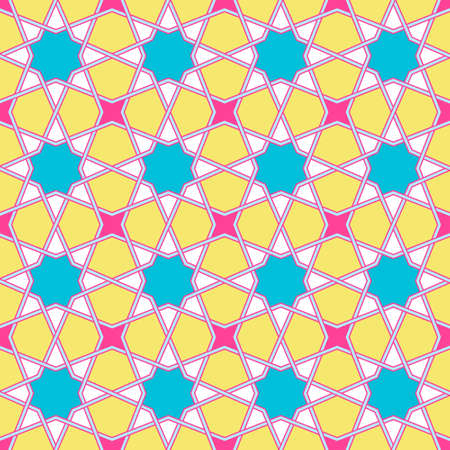 Modern Tangled Lattice Pattern inspired by traditional arabic geometry. Seamless vector background pattern. Bright bold neon 1980s colors - pink, yellow, cyan blue