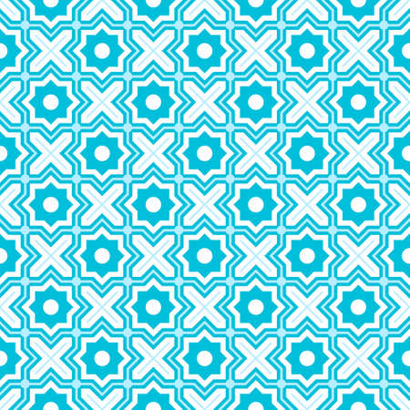 Modern Tangled Lattice Pattern inspired by traditional arabic geometry. Seamless vector background pattern. Bright bold neon 1980s colors - pink, yellow, cyan blue 矢量图像