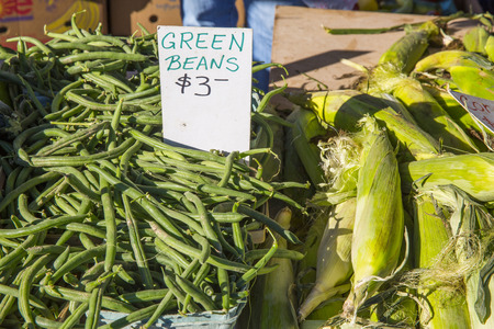 zea mays: green beans and corn for sale