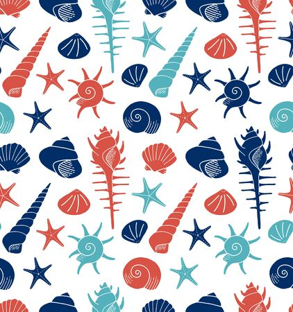 various shells seamless pattern
