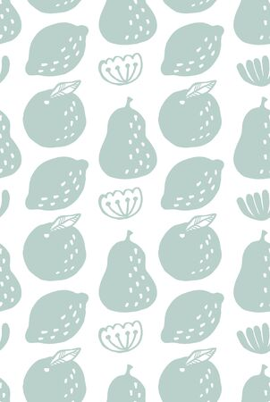 Fruits seamless pattern (ice blue)
