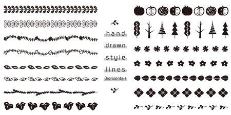 set di linee di stile disegnato a mano (orizzontale)