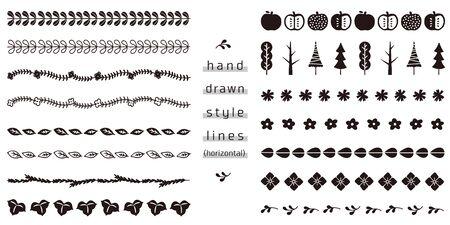 zestaw linii ręcznie rysowanego stylu (poziomo)