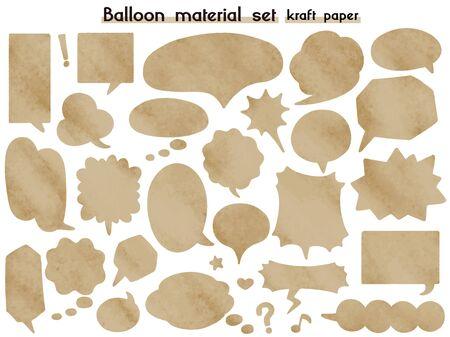 speech balloon material set(kraft paper) Çizim