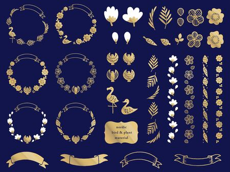 nordic bird and plant material set