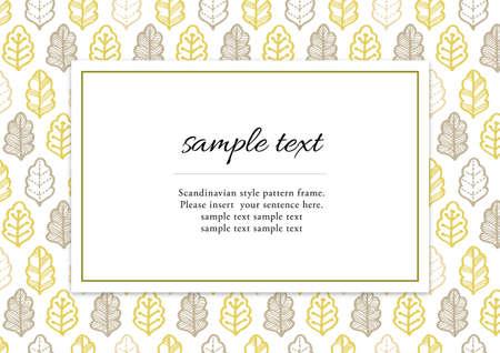 Scandinavian style plant pattern frame Illusztráció