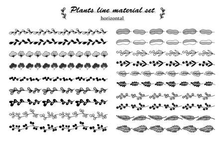 plant material set(line) 일러스트