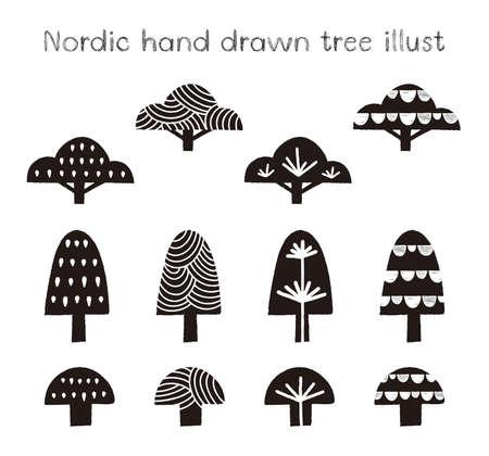Nordic hand drawn tree illust