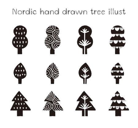 Nordic hand drawn tree illustration