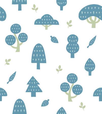 Nordic hand drawn tree pattern