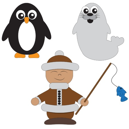a penguin a seal and an Eskimo Stock Vector - 16976310