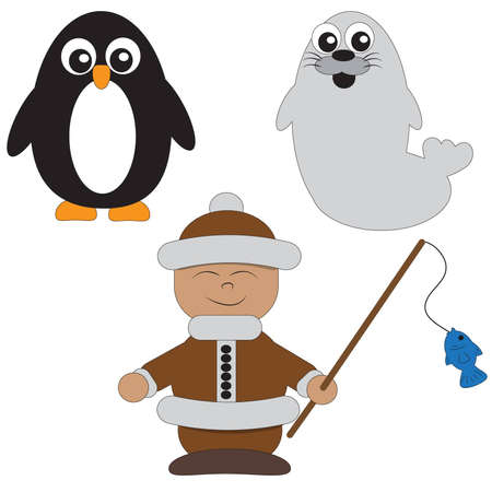a penguin a seal and an Eskimo