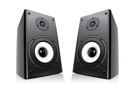 오디오: 흰색 배경에 고립 된 검은 시끄러운 스피커의 쌍 일러스트
