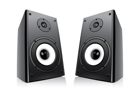 equipo de sonido: Par De Negro Altavoces Aislado sobre fondo blanco Vectores
