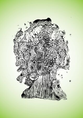 silueta: Tree illustration background