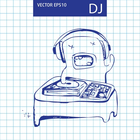Illustration cute cartoon monster sketch Vector