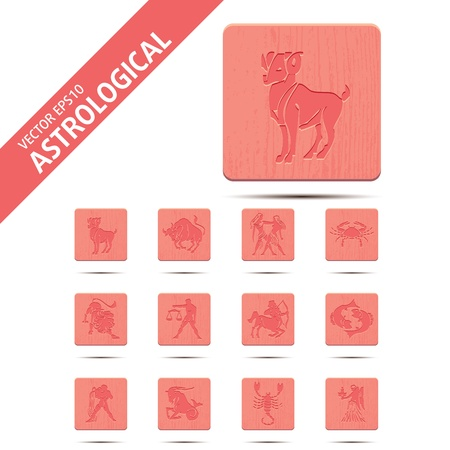 Horoscope zodiac signs, illustration set buttons Vector