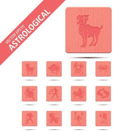 Horoscope zodiac signs, illustration set buttons