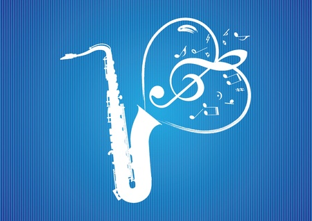 stoned: Saxophone Heart rom musical notes illustration background