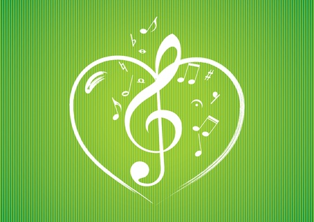 Heart rom musical notes illustration background Vector