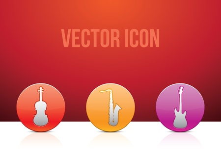 Icon set music color illustration Stock Vector - 13437466