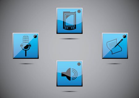 icon set illustration of music, mic in blue