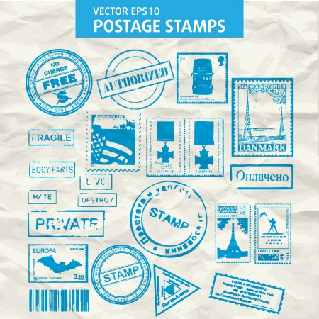 Set of stamps and postmarks isolated.