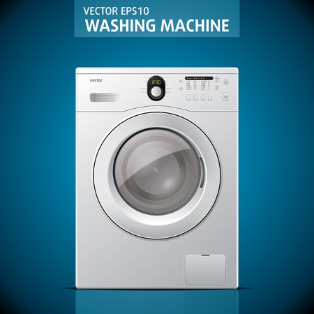Closed washing machine on blue background illustration