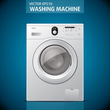 lavadora con ropa: La m�quina de lavado cerrado en la ilustraci�n de fondo azul Vectores